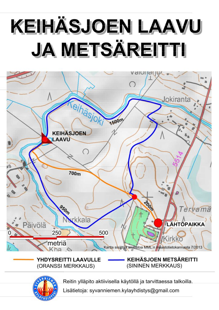 Syvänniemi Keihäsjoen reittikartta
