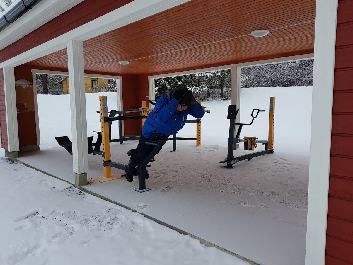 Monipuolinen kuntoilukatos –  käytettävissä myös talvella.